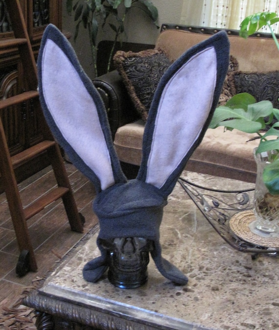 Gray Bunny ear flap hat with wire stand up 17 inch ears in 6 sizes
