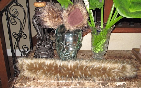 Frosted brown white tips spiked luxury wolf shag faux fur ears tails & sets