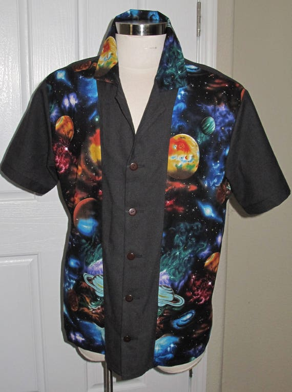 Large Planet print Men's bowling shirt in 10 sizes