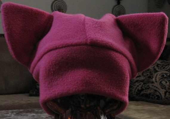 Cat ears dark pink fleece hat in 7 sizes