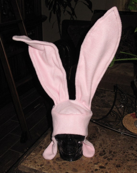 Light Pink Bunny ear flap hat with wire stand up 17 inch ears in 6 sizes