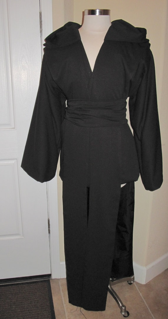 Sith black tunic, hooded tabard vest to floor & sash in several sizes