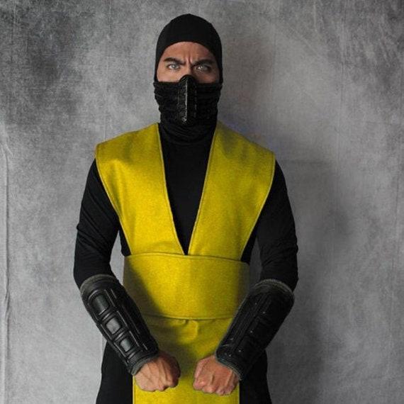 Mortal Kombat Scorpion Yellow Ninja Pleather tabard vest and sash in several sizes
