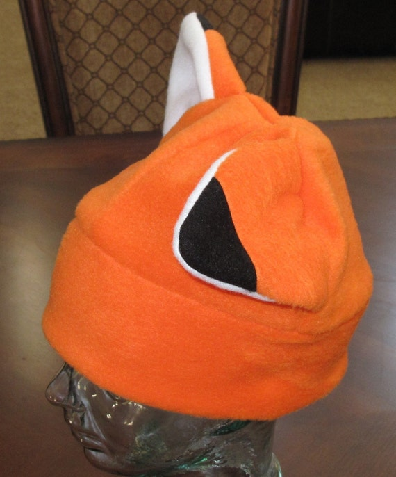 Cosplay foxie ear fleece warm winter hat with black tip in 6 sizes