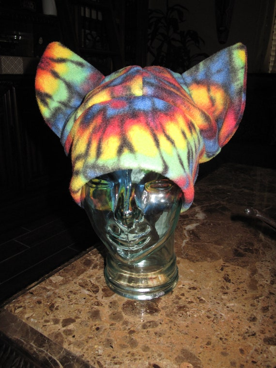 Tie dyed multicolor fleece cat ears hat in 6 sizes