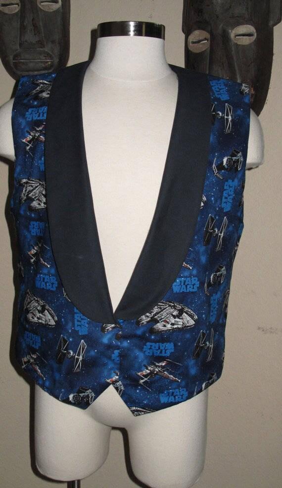 Blue Millennium Falcon print Tuxedo men's vest in 8 sizes