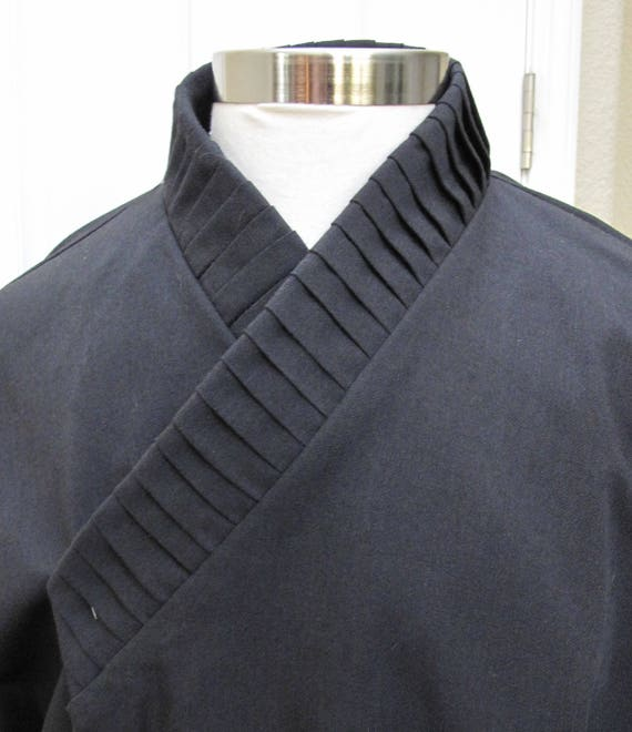 Star Wars Sith under tunic black costume shirt with vertical tucks on the collar and ties around the wrist