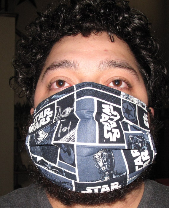 Star Wars Darth Vader Gray Washable & Reusable 3 layer cotton Face Mask with none woven interfacing in 4 sizes