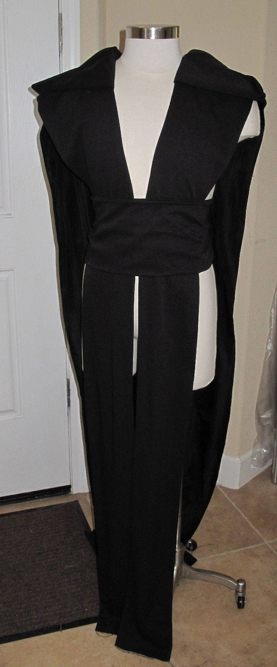 Black sleeveless hooded floor length tabard vest with a sash in several sizes