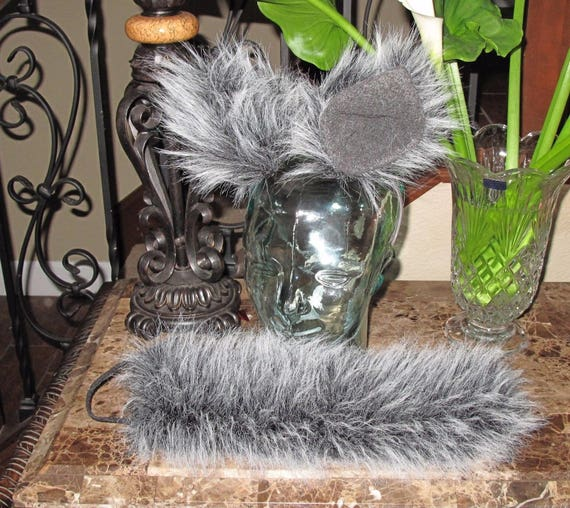 Frosted black white tips Luxury wolf shag faux fur ears tails & sets