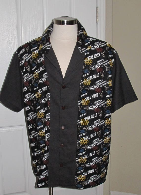 Enterprise ship print Men's bowling shirt in 10 sizes