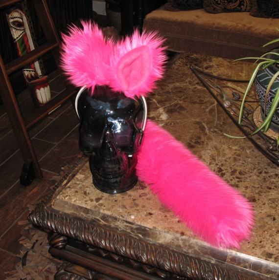 Hot Pink Luxury Shag faux fur ears tails & sets in 2 sizes