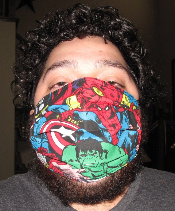 Marvel Toss Superhero Washable & Reusable 3 layer Face Mask with Nonwoven  interfacing  in 4 sizes