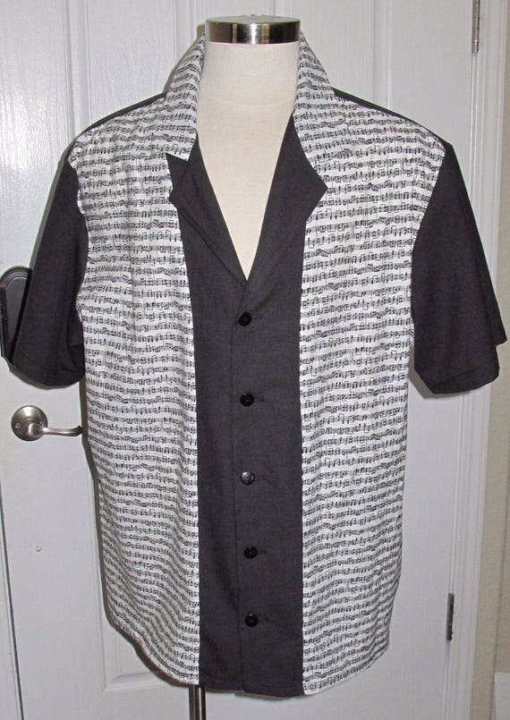 Musical Notes print Men's bowling shirt in 10 sizes