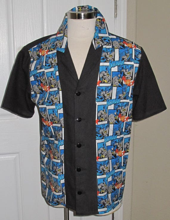 Batman print Men's Bowling Shirt in  10 sizes