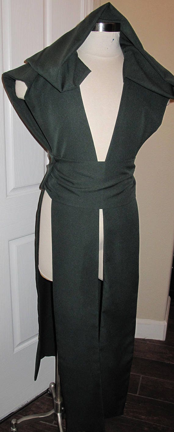 Dark Green sleeveless hooded floor length tabard vest with a sash in several sizes