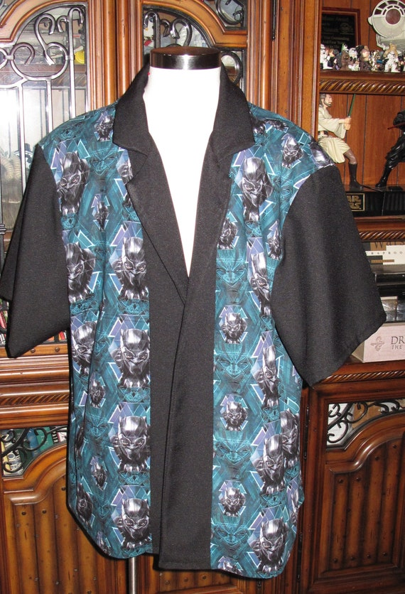 Black Panther print Men's bowling shirts in 10 sizes