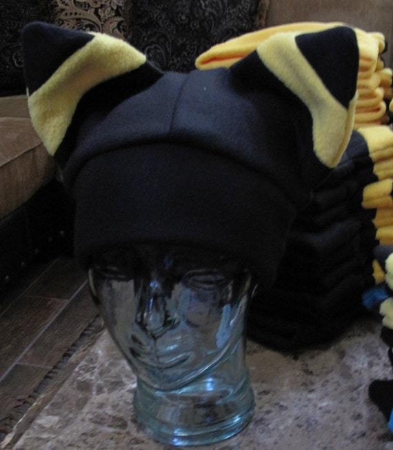 Yellow Umbreon  fleece ear winter warm hat in  6 sizes