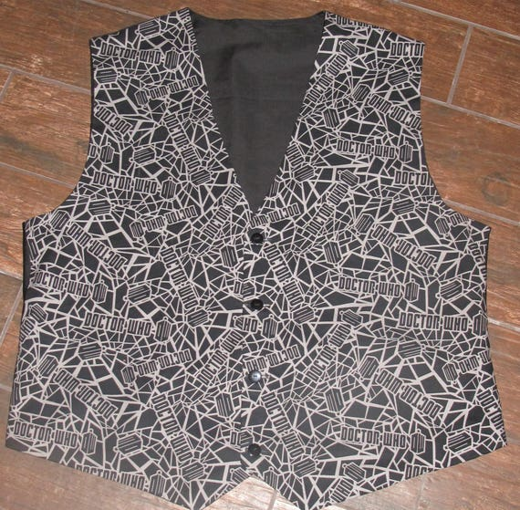 Dr. Who Black Gray print  men's sporty vests with buttons for closure in 8 sizes