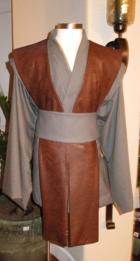 Cosplay grey tunic brown pleather tabards & grey pleather sash costume