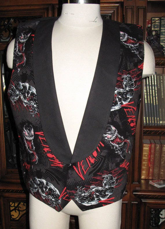Venom print Tuxedo men's vest in 8 sizes