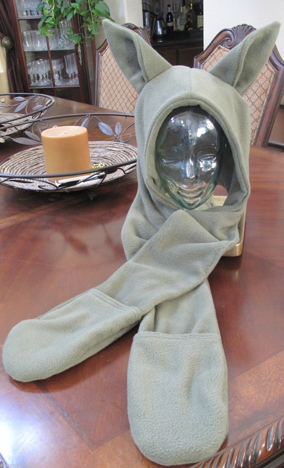 Cosplay Elf or Yoda fleece scarf ear hoodie with mittens