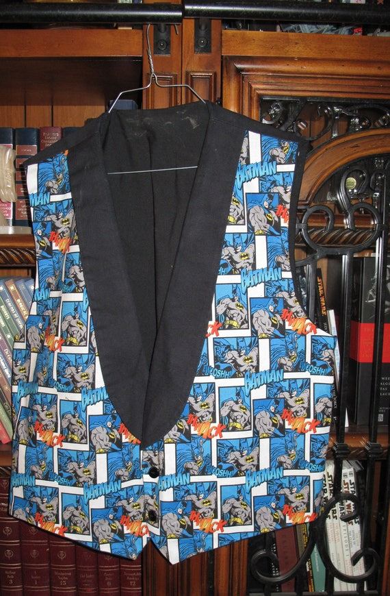 Batman print Tuxedo men's vest in 8 sizes