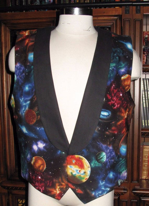 Large Planet Galaxy print Tuxedo men's vest in 8 sizes