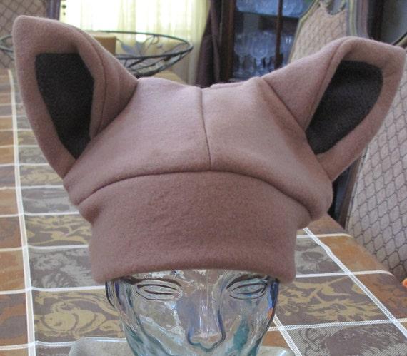 Eevee fleece ear hat in 6 sizes