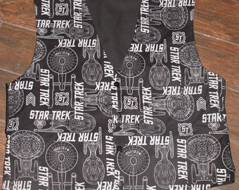 Black Star Trek pattern men's sporty vests with buttons for closure in 8 sizes dFIYFMEQNa