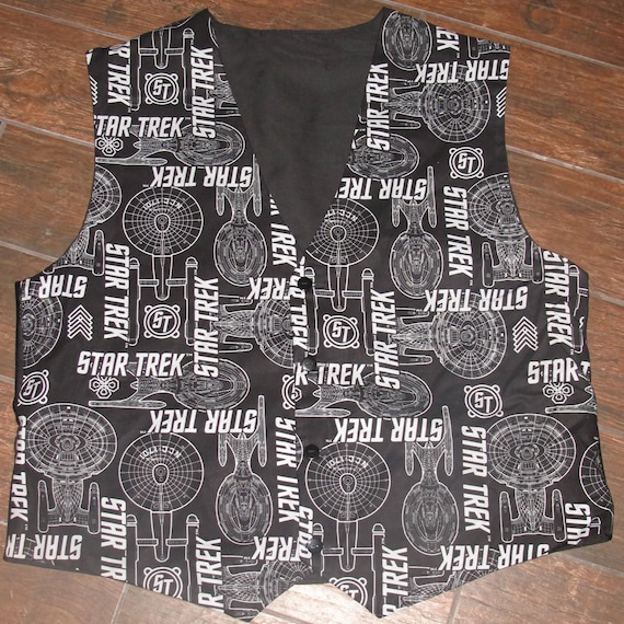 Star Trek Black Enterprise pattern men's sporty vests with buttons for closure in 8 sizes