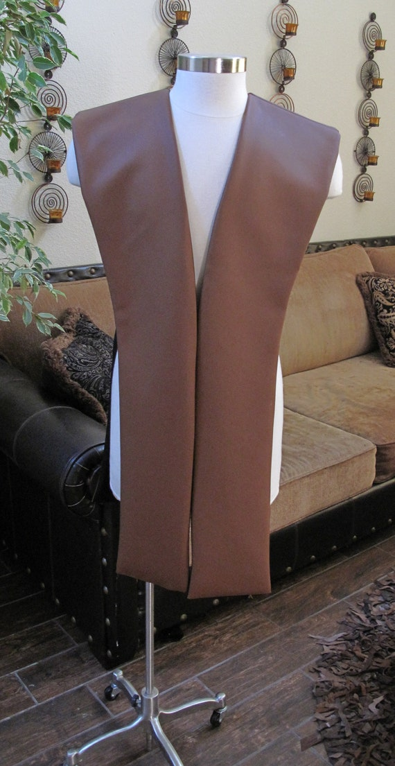 Brownish pleather tabards in 10 sizes