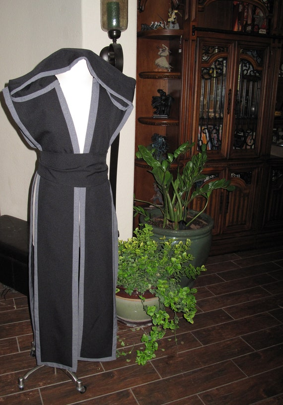 Black sleeveless hooded floor length tabard vest with gray border and sash in several sizes