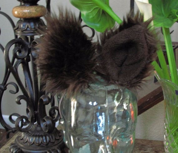 Dark Brown  Luxury shag faux fur ears tails & sets