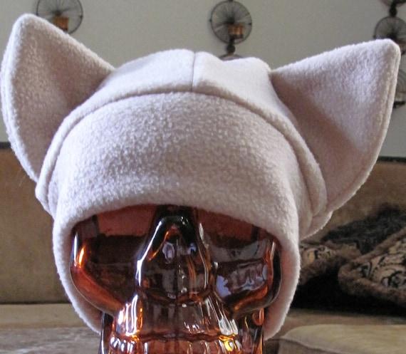 Cat ear beige fleece hat in 7 sizes