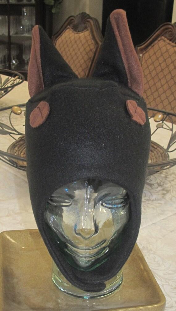 Doberman Pinscher ear flap black fleece ear hat in 6 sizes