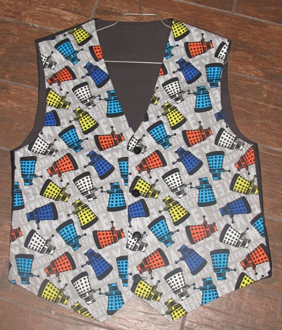 Dr. Who Multi color Tardis men's sporty vests with buttons for closure in 8 sizes