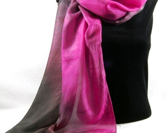 The Colors of WINTER...Hand Dyed Silk Habotai Scarf, choose your palette