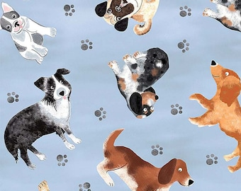 Tossed Faded Dogs Fabric BTY, Timeless Treasures C7749-BLUE, Cute Cartoon Dogs, Dog Lover Fabric, 100% Cotton