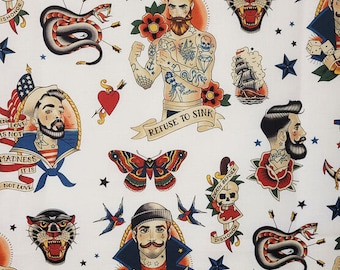 Refuse to Sink Retro Tattoo Fabric BTY, Classic Tattoo Flash Vintage Look Sailor Jerry Style Alexander Henry Lucky AH-8820 100% Cotton