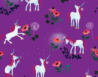 Unicorn Fabric BTY, Uni the Unicorn Toss Purple by Riley Blake, C9981-Purple Kawaii Adorable Unicorns, Fun Kids Print, 100% Cotton Fabric