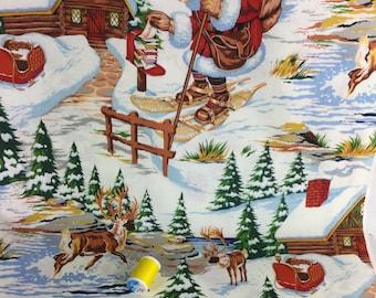 Santa's Lodge Retro Christmas Fabric BTY, Classic St. Nicholas Alexander Henry AH-7800 Vintage Look Santa Claus Sale