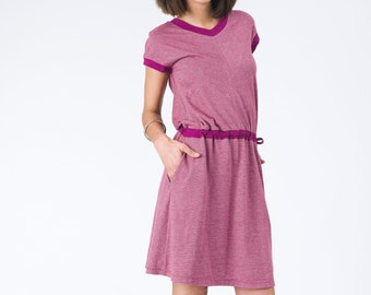 Fossil Dress in Rose, comfortable hemp and organic cotton dress with pockets