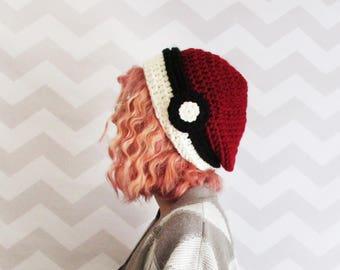 pokeball hat, pokemon hat, slouchy hat, slouchy beanie, pokemon cosplay, pokemon costume, winter hat, gift for teens, knit pokemon hat