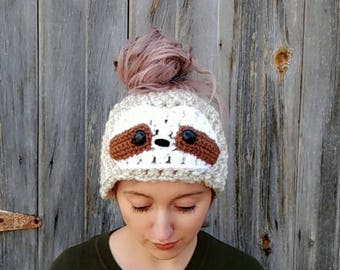 messy bun hat, sloth hat, animal hat, bun beanie, ponytail hat, funny animal hat, sloth, gift for teens, knit winter hat, knit sloth hat