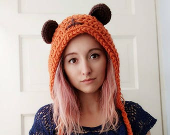star wars, ewok hat, bear ears hat, ewok hood, knit hat, winter hat, star wars cosplay, star wars costume, may the fourth, gift for her