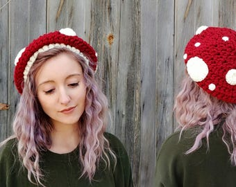 mushroom hat, slouchy beret mushroom hat, halloween costume, toadstool mushroom, quirky novelty hat, chunky knit hat, chunky crochet hat