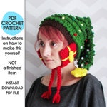 crochet christmas hat pattern, christmas tree hat, novelty christmas hat, crochet christmas tree, ugly sweater party, christmas crochet