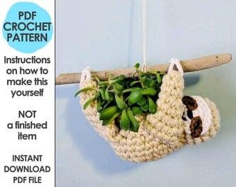 sloth planter crochet pattern, mini succulent planter, hanging crochet planter, animal planter, sloth crochet