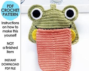 Froggy Kitchen Towel Crochet Pattern, Kawaii Crochet Hand Towel, Froggie Home Decor